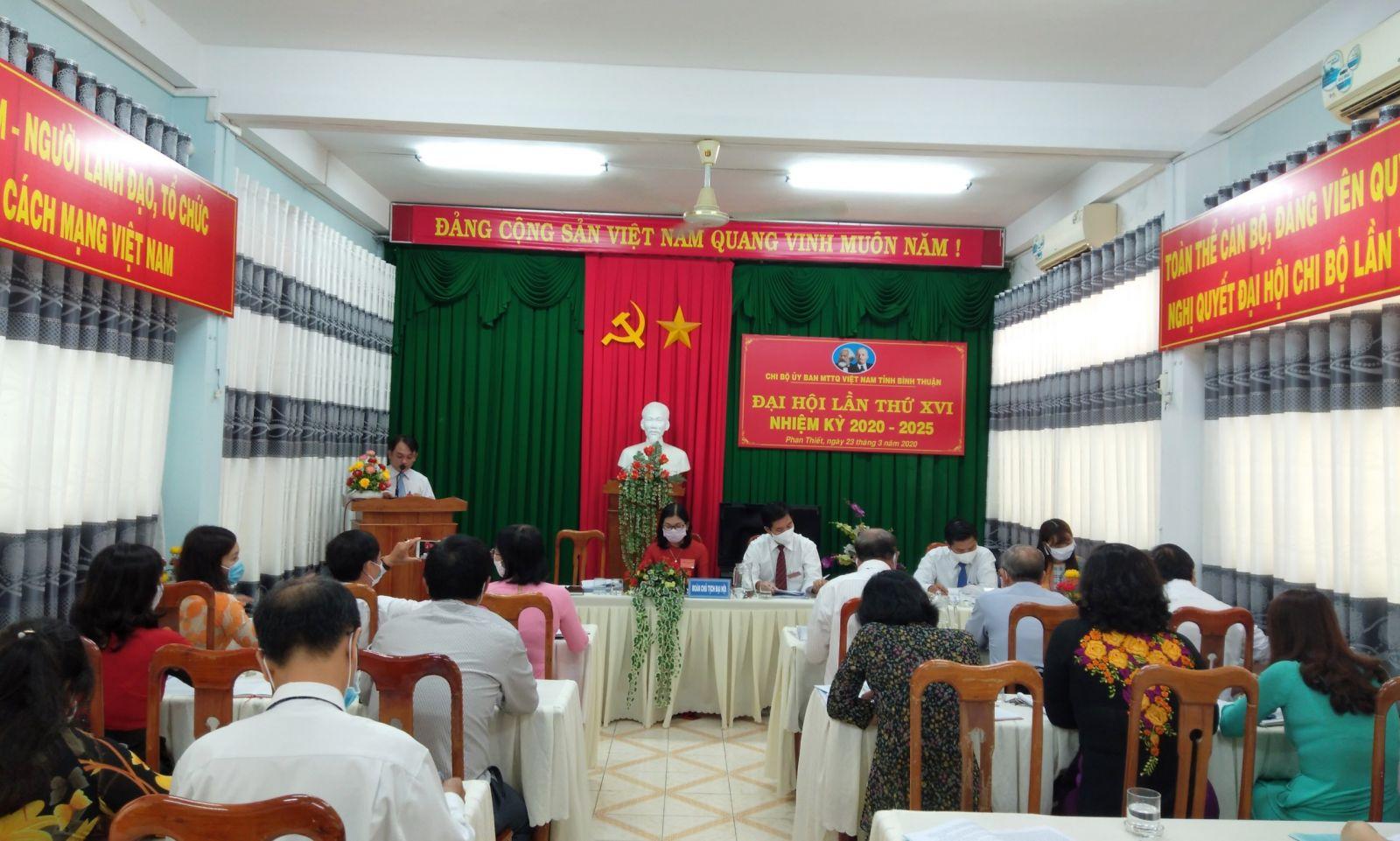 Hình Chi bộ Ủy ban Mặt trận Tổ quốc Việt Nam tỉnh Bình Thuận Đại hội lần thứ XVI nhiệm kỳ 2020-2025