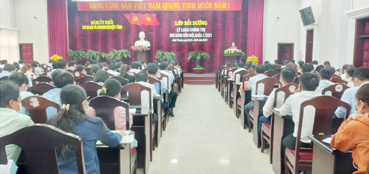 Hình  Đảng ủy Khối cơ quan và doanh nghiệp tỉnh tổ chức mở lớp Bồi dưỡng lý luận chính trị cho đảng viên mới, khóa I/2021