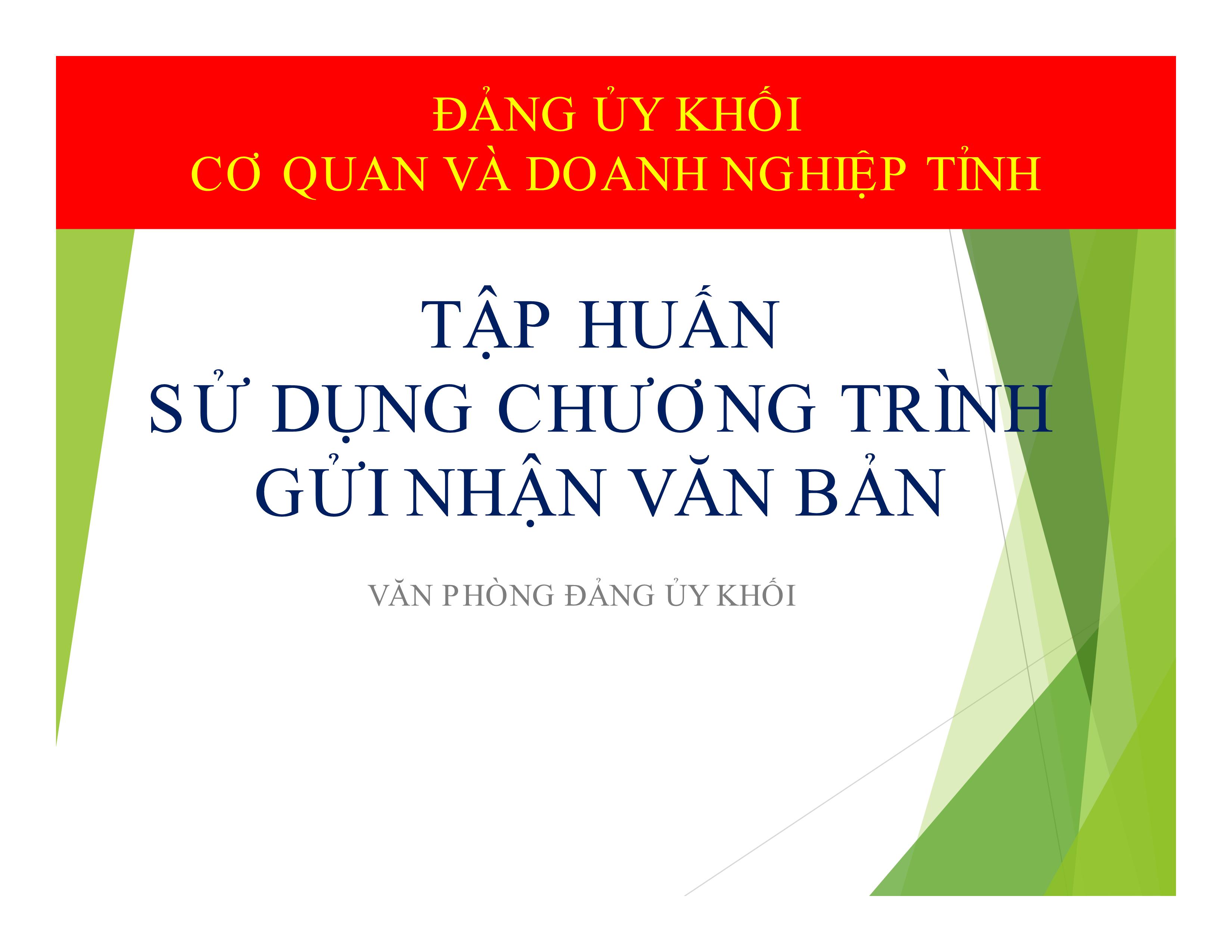 Hình Hướng dẫn quản lý và sử dụng Chương trình gửi nhận văn bản điện tử thông qua Trang thông tin điện tử Đảng ủy Khối cơ quan và doanh nghiệp tỉnh Bình Thuận